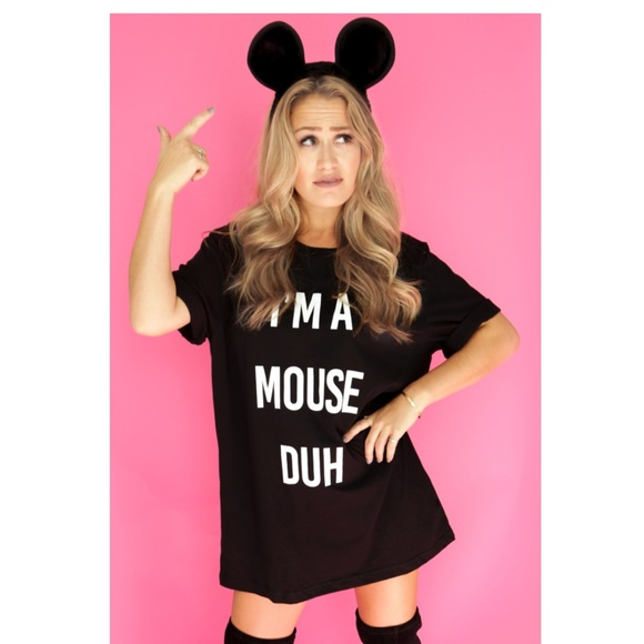 Ladies I/'m A Mouse Duh T Shirt Womens Halloween Party Costume Mean Girls Top